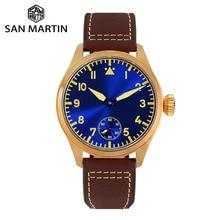 San Martin Reloj de piloto de bronce para hombre, Correa mecánica Manual de cuero de zafiro, luminoso, resistente al agua, carcasa trasera transparente