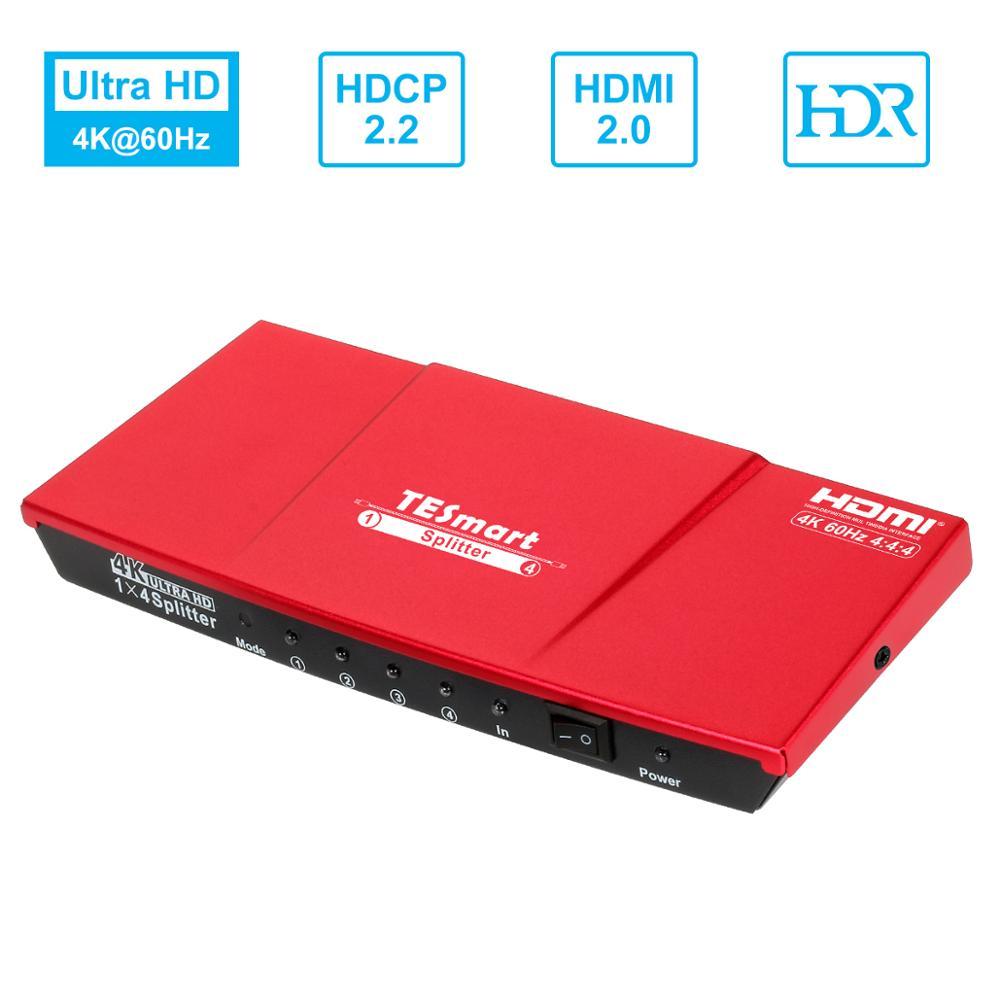 4K HDMI Splitter 1x4 4K@60Hz  1 in 4 out HDMI Splitter for Dual Monitor Ultra HD 4K  HDCP 2.2, HDR, RGB, YUV, 18 Gbps TESmart