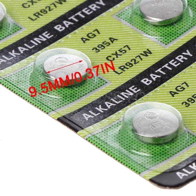 10 pçs bateria alcalina ag7 1.55v botão moeda pilha relógio baterias lr927 lr57 sr927w 399 gr927 395a transporte da gota