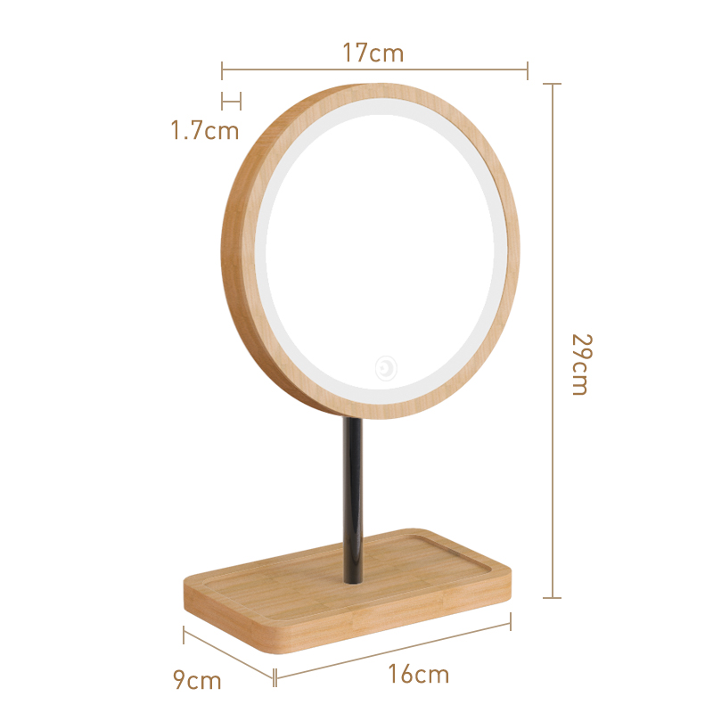 Image 2 - Wooden Desktop LED Makeup Mirror USB Charging 360 Degree Rotating Adjustable Bright Diffused Light Touch Screen Beauty Mirrors-in Makeup Mirrors from Beauty & Health