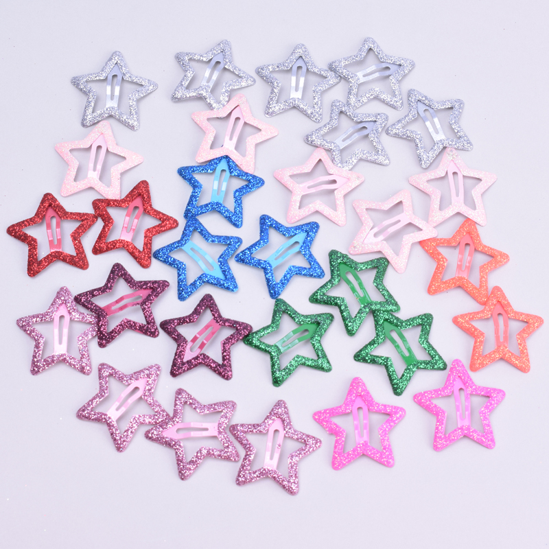 20pcs/lot 3CM Mini Star Hair Clip Kids Glitter Metal Hair Clips Barrettes Hairpins Girls Hair Accessories Headwear Styling Tools