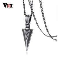 Vnox vintage rock marcante de ponta de flecha dos homens pingente colar para homens especial surf bicicleta aço inoxidável colar jóias
