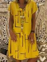 Große größe frauen Kleider Drucken Kurzarm V-ausschnitt Kleider Boho Kleidung Sommerkleid Frauen Sommer Beiläufige Lose Kleid Plus Größe