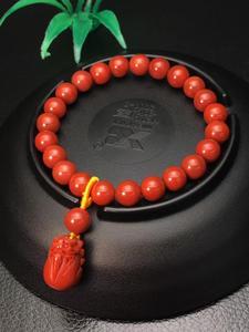 Image 1 - אמיתי טבעי דרום אדום אגת חן צמיד 8mm אישה למתוח קריסטל Pi Xiu חרוזים צמיד צמיד AAAAA