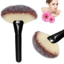 цена на Large Fan Shape Powder Makeup Brush Pro Foundation Powder Blush Contour Brush Multifunction Cosmetic Brushes Makeup Tool 2019
