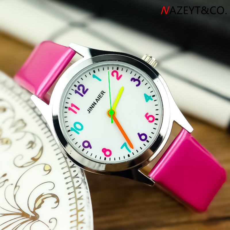2019 New Arrived Little Boys Girls Color No. Scale Simple Face Quartz Watch Children 7-color Leather Jelly Wristwatch Gift Clock
