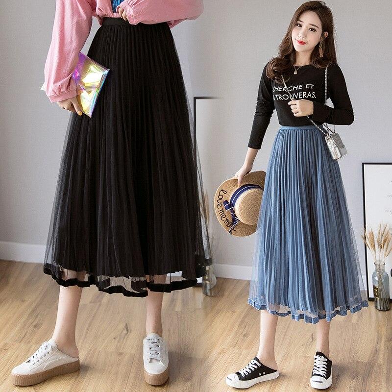 Photo Shoot 2019 Autumn And Winter New Style Korean-style Gold Velvet Gauze Skirt Fold Mesh Dress Pleated Skirt Slimming Long Sk