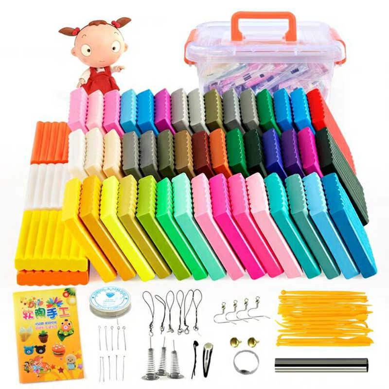 50 renk yumuşak kil DIY oyuncaklar çocuk eğitici hava kuru polimer kil hamuru güvenli renkli zanaat fırın pişirme kil blokları