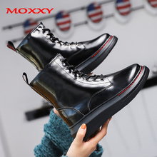 2019 New Platform Martin Boots Black Combat Boots Women Leather Gothic  Punk Ankle Boots Women Shoes Lace Up Casual Botas Mujer prova perfetto black ankle boots for women rivets studded flat autumn botas mujer genuine leather platform rubber martin boots