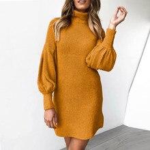 Желтый свитер, женское платье, зима, теплая водолазка с длинным рукавом, вязанные вечерние платья Sukienka, женские платья