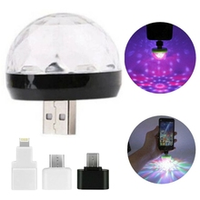 Mini USB LED Disco Lighting Stage Portable Family Party Magic Ball Colorful Light Bar Club Stage Effect Lamp for Mobile Phone