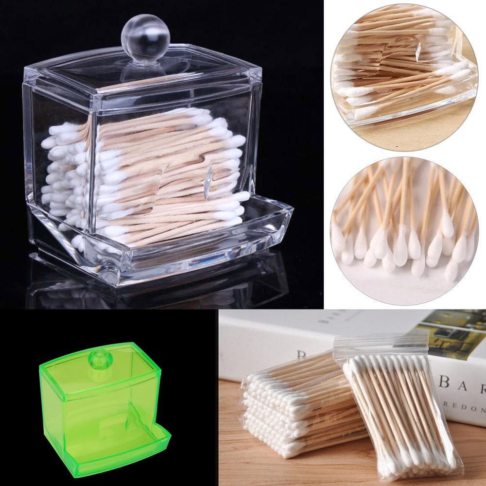 Acrylic Storage Cotton Ball Swab Pad Organizer Holder Bathroom Container New Makeup Organizer Cosmetic Holder Tool Accessories