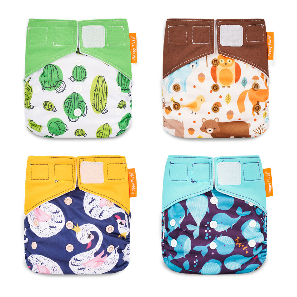 Happy Flute OS Cloth Diapers Reusbale & Washable Night AIO Baby Nappy Waterproof Cloth Nappy Fit 0-2 Years 3-15kg Baby