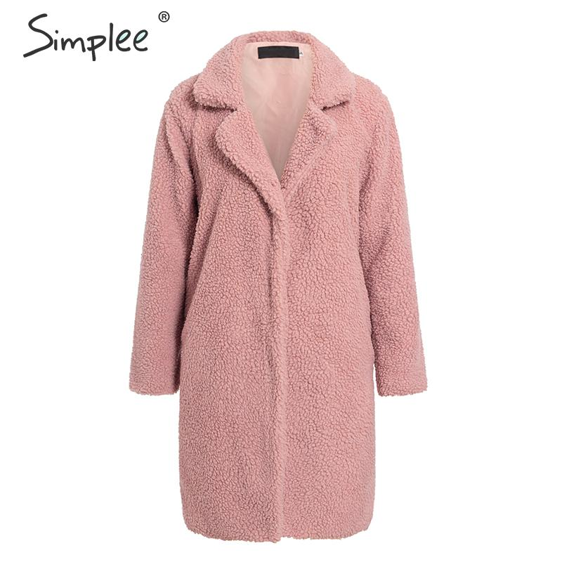 Simplee Luxury Faux Fur Women Coat Autumn Winter Thick Warm Plush Teddy Jacket Coats Streetwear Ladies Plus Size Outwear Coat