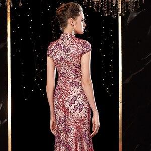 Image 5 - J20113 jancember エレガントなイブニングドレスロング 2020 イリュージョンハイネック半袖アップリケピンクパーティードレス платье длинное