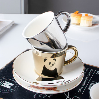 90ml Creative Reflection cup cartoon Panda/Tiger/Deer/Horse cups The Mirror Collection coffee mugs breakfast water bottle gift - discount item  33% OFF Kitchen,Dining & Bar