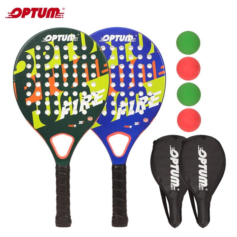 Ensemble de raquettes de paddle-ball Pro à Surface rugueuse en Fiber de carbone OPTUM Fire (2 palettes, 4 balles, 2 sacs de couverture) jeu de plage Frescobol Paddlle
