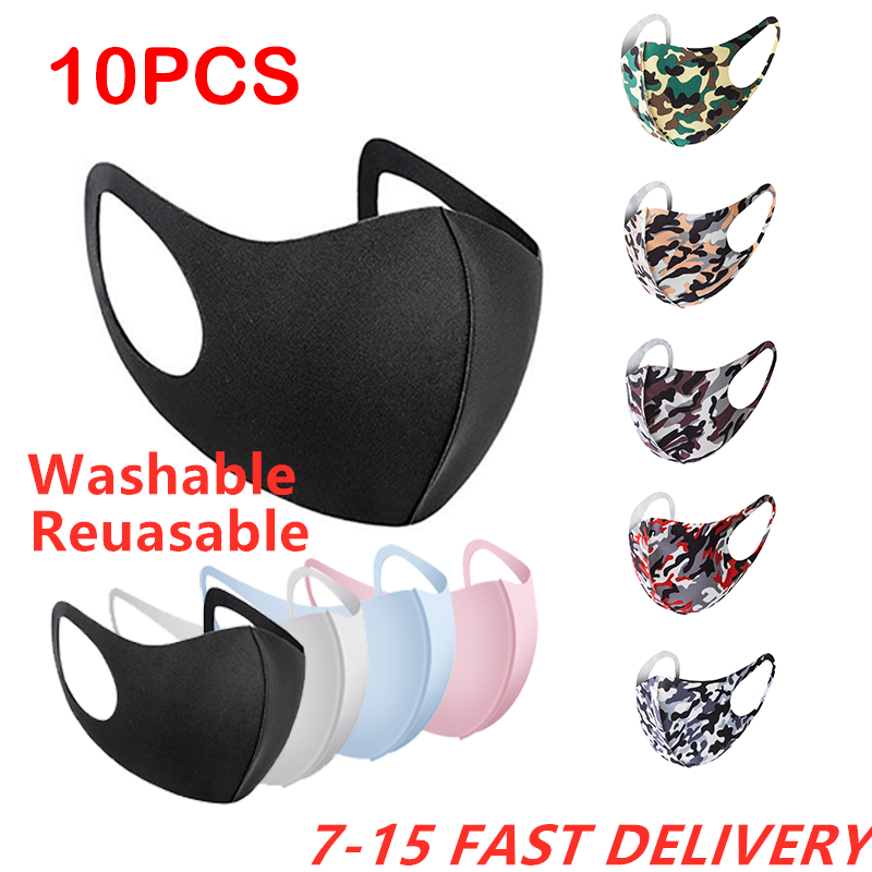 10pcs Face Mask Black Mouth Mask Reusable Mask Washable Mascarillas Face Shield Masque Facial Mask