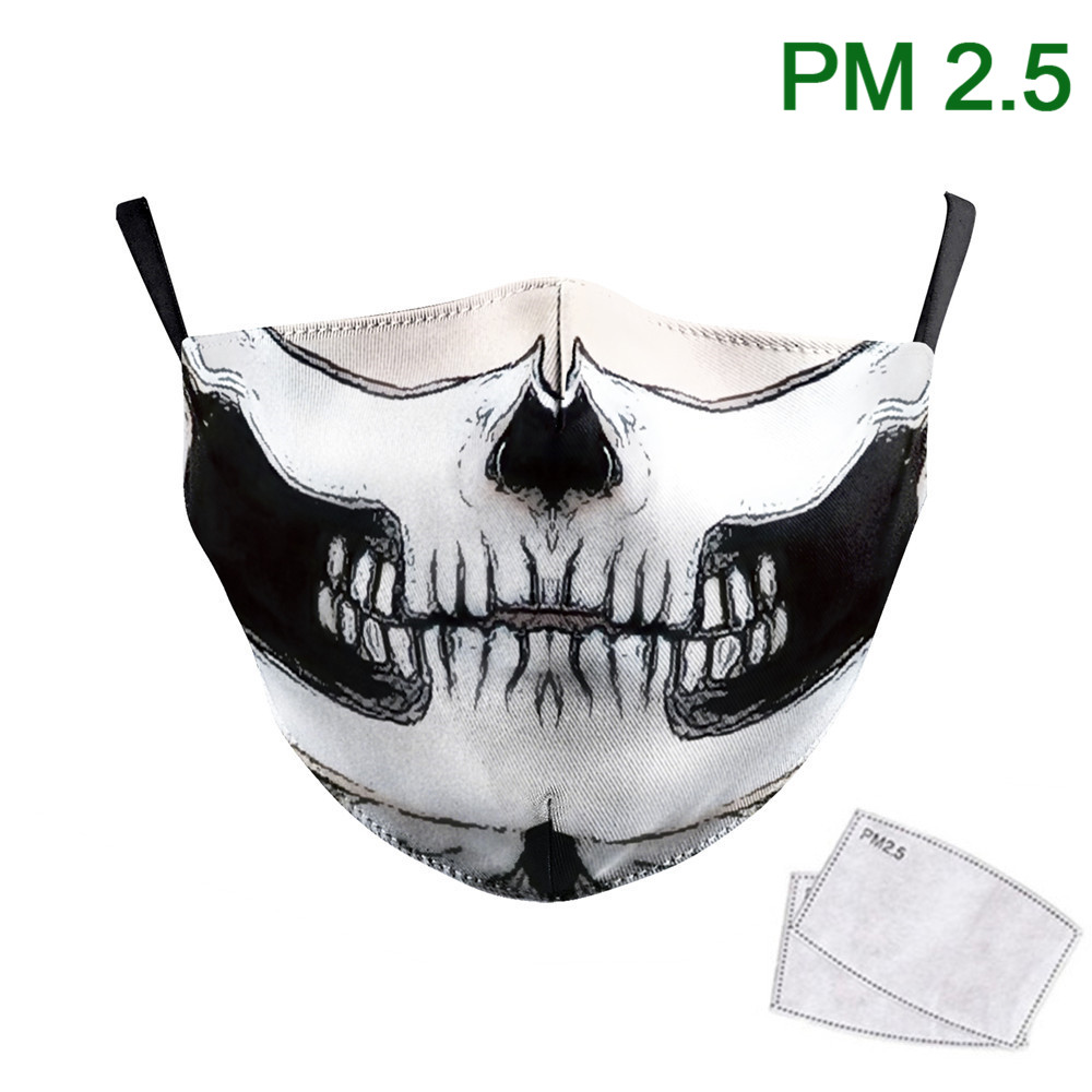 New Design Classic Skull Face Mask Print Washable Fabric Masks Adult Cosplay Horror Mouth Masks PM2.5 Protective Dust Proof Mask