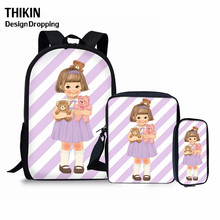 THIKIN Cute Cartoon Little Girl Print Backpack 3PCS School Bags for Teenager Girls Kids Casual Bag Baby Chidlren Pencil Pouch cute kitten cats puppy dogs print backpack pencil bag for teenager boy girl children school bags kids bookbag women backpack