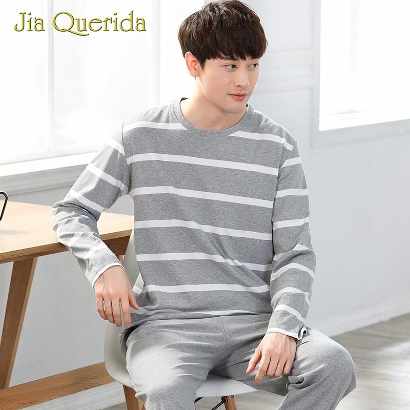 Mens Pajamas Long Pyjamas Men Pijama Men Sleepwear Elastic Waist O-Neck Cotton Striped Shirt Autunmn Spring Pijama Set Nightwear