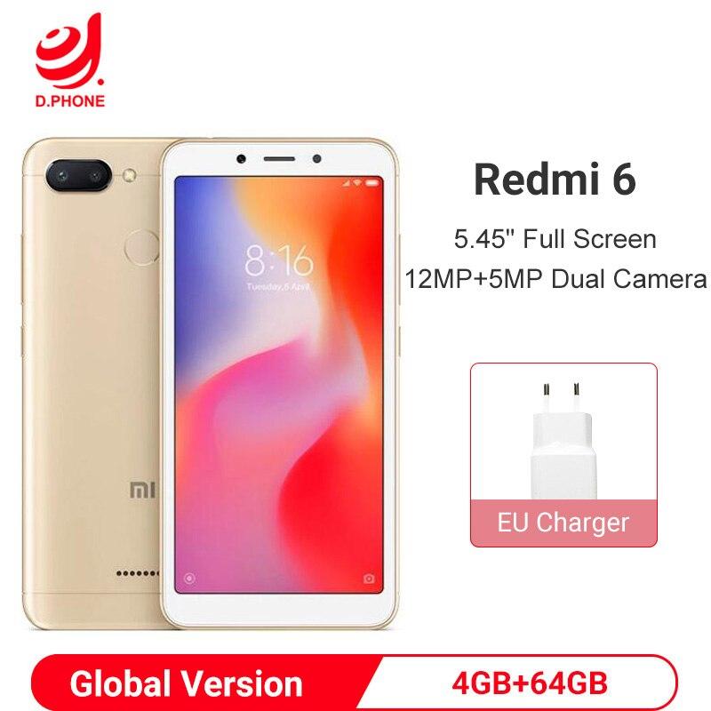 Global Versão Original Xiaomi Redmi 6 4 GB 64 GB 12MP + 5MP Helio P22 Octa Core de Smartphones Dual câmeras de 5.45