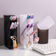 Pen Plastic Stora Desk Organizer Desktop Pen Holder Office School Storage Case White Black Plastic Box Desk Pen Pencil Organizer(China)