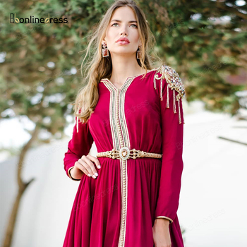 Evening Embroidery Appliques Long Full Sleeve Party-Dress