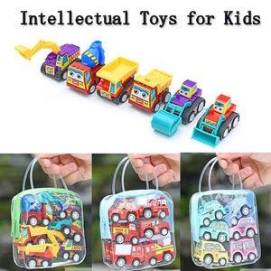 Image 1 - Samochody wyścigowe zestaw samochód wyścigowy ciężarówka pojazd Mini mały samochód z napędem Pull Back zabawki zabawka świąteczna pudełko dla chłopców prezent na boże narodzenie 6 sztuk маленькие машинки