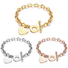 Bijoux en acier inoxydable, chaîne en forme de cœur d'amour, cadeau de fête, mode, texte gravé, vente en gros