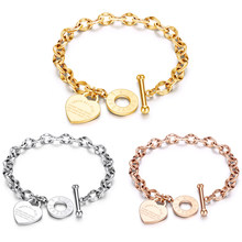 Stainless Steel Love Heart Bracelets For Women Party Gift Fashion Joyas de Chain Charm Bracelets Jewelry Wholesale Text Engraved(China)