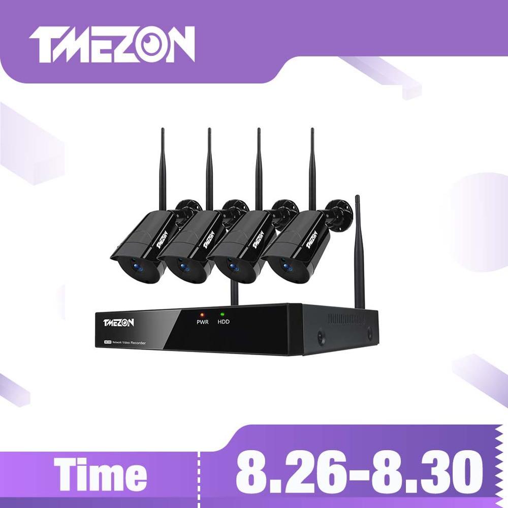 TMEZON 4CH 4PCS NVR Wi-fi Sem Fio 960P IR Night Vision IP Câmera de Segurança Sistema de Vigilância de Vídeo À Prova D' Água Ao Ar Livre kit