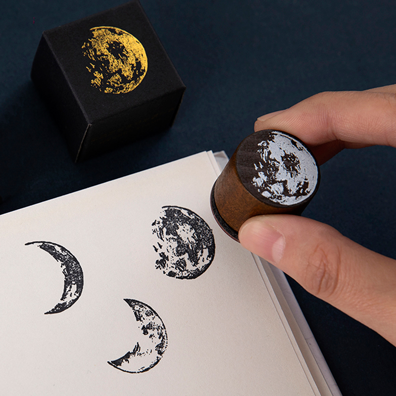 JIANWU 1pc Vintage Moon Phase Travel Stamps Planet Pattern Wooden Rubber Standard Stamps For DIY Scrapbooking Seal