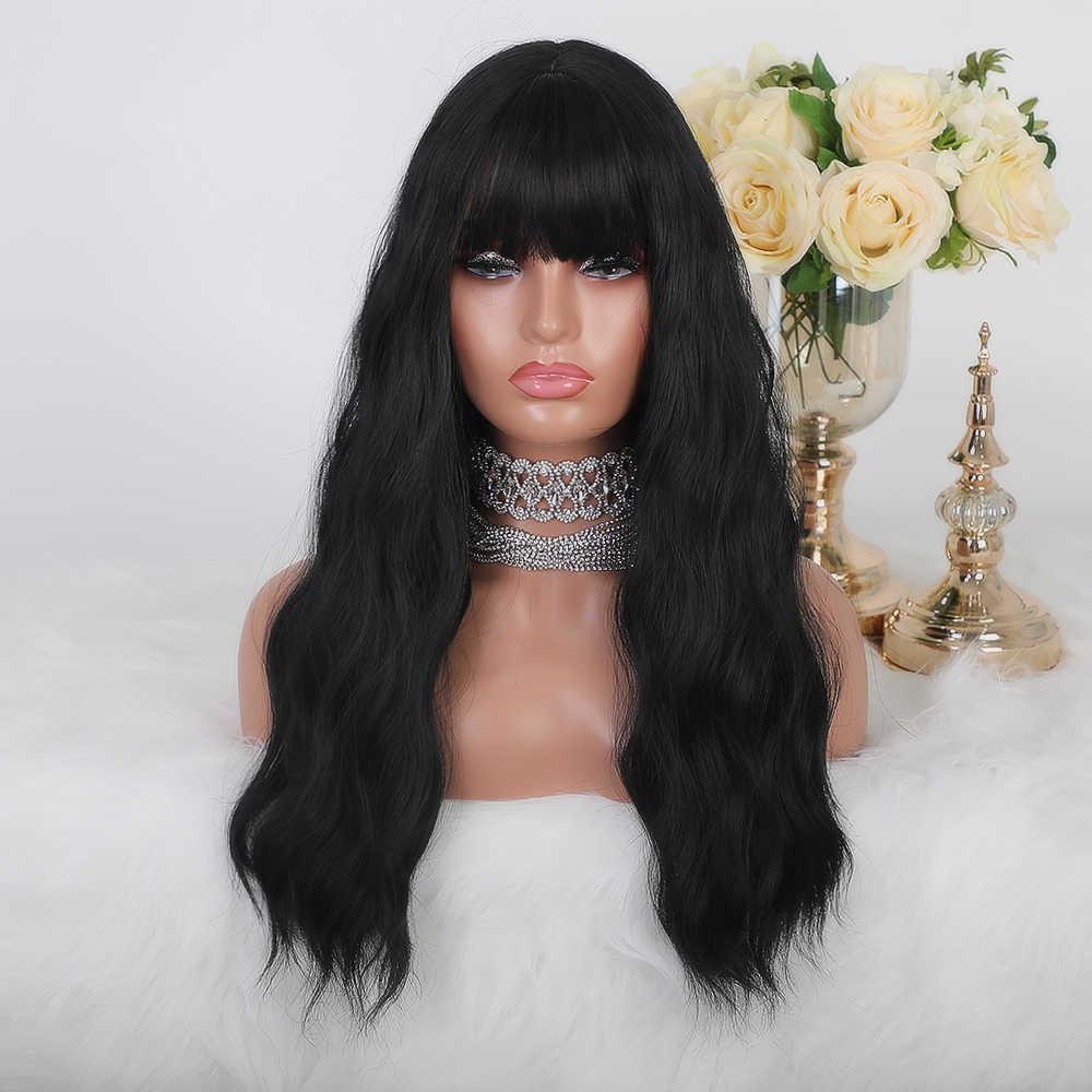 Perucas sintéticas longas onduladas do cabelo do preto 1b da água do unicórnio loiro para preto/branco