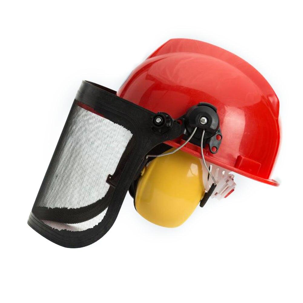 H7672708fdd8740ef8740d62e88d852c9u Full Face Mesh Grass Trimmer Helmet Outdoor Protective Mask Metal Visor Workplace Garden Ear Defenders 180 Degrees Adjustable