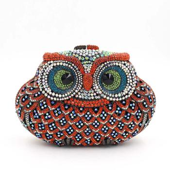 Bee In Fly Sparkling Bling Color Owl Clutch Women's Small Crystal Evening Handbags Wedding Party Cocktail Bag Coin Purse