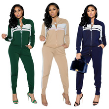 Casual Sporty Loungewear Sets Women Two Piece Suits Zipper Up Long Sleeve Jackets and Pencil Trousers Color Block Club Outfits