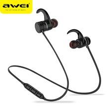 AWEI bezprzewodowe słuchawki Bluetooth słuchawki Bass Sport zestaw słuchawkowy Bluetooth Auriculares słuchawki douszne dla Xiaomi Huawei iPhone