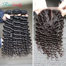 [Rosabeauty] OneCut Hair Deep Curly 8-30inch H Brazilian Human Raw Virgin Unprocessed Hair Natural Color 3 bundles with closure