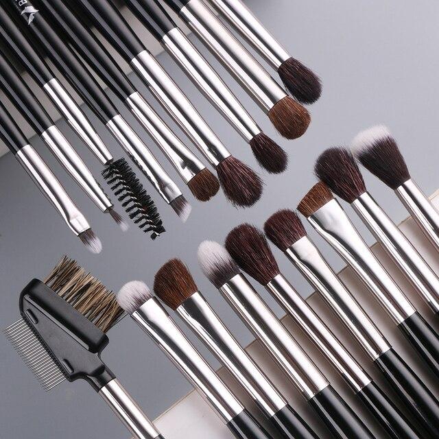 BEILI Makeup Brushes Set 18pcs Black Professional Natural Goat Pony Eyeshadow Eyebrow Blending Eyeliner make up brush set 4