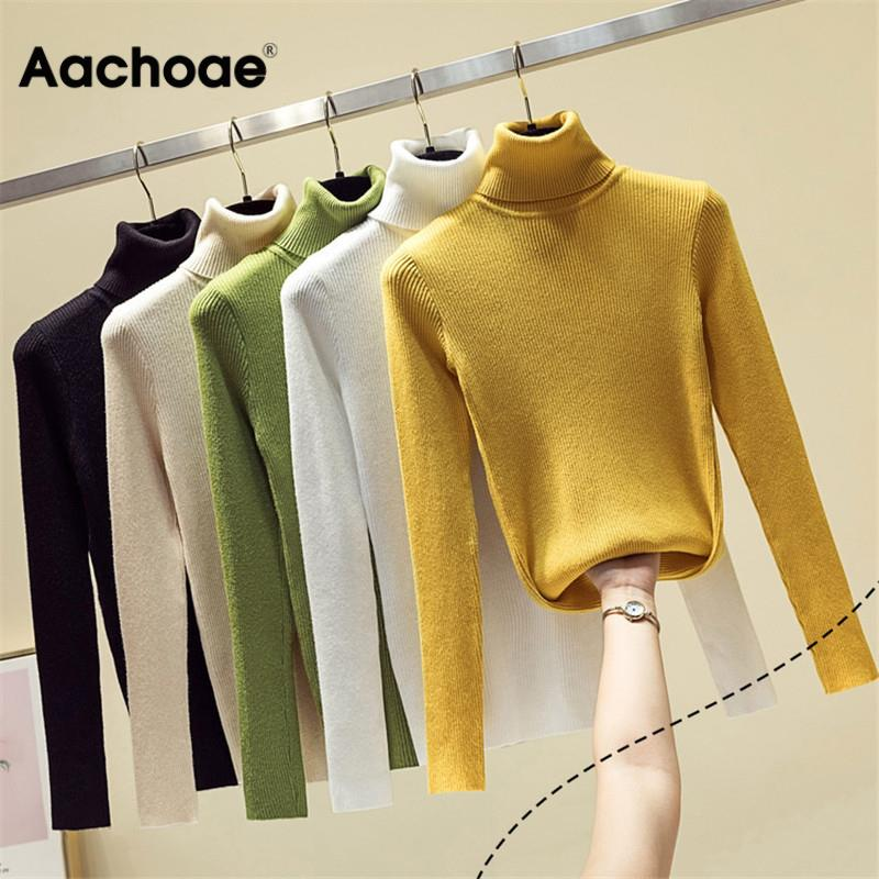 Aachoae Knit Sweater Women Turtleneck Casual Pure Cashmere Pullover Autumn Winter Solid Long Sleeve Slim-jumper Soft Tops Pull