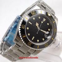 40mm bliger preto estéril ninho dial marcas luminosas cinta de aço inoxidável cerâmica moldura vidro safira relógio automático dos homens 298|Relógios mecânicos| |  -