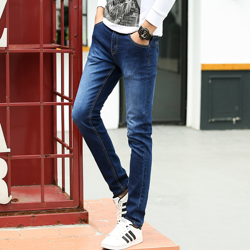 Spring New Style Men Faded Jeans Men's Elasticity Slim Fit Skinny Pants Casual Fashion Pants Men's Korean-style Trend