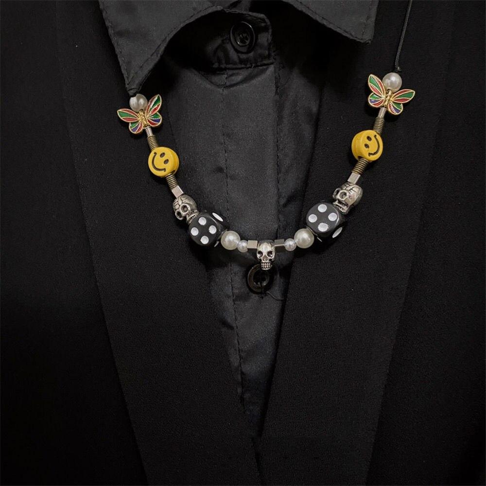 Colar de gargantilha ajustável colar de gargantilha do punk harajuku novo miçangas geométricas hip hop colares moda jóias para mulheres pérola