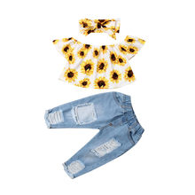 Summer 3PCS Sunflower Outfits Clothes set Baby Girls Top+Ripped Jeans pants off shoulder Sunsuit Kids Clothes set(China)