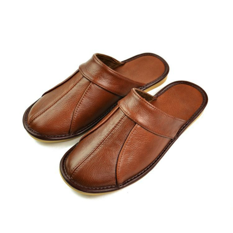 100% Cow Leather Handmade Men Home Slippers 2020 New Spring Slip On Soft Comfortable Black Brown Genuine Leather House Shoes(China)