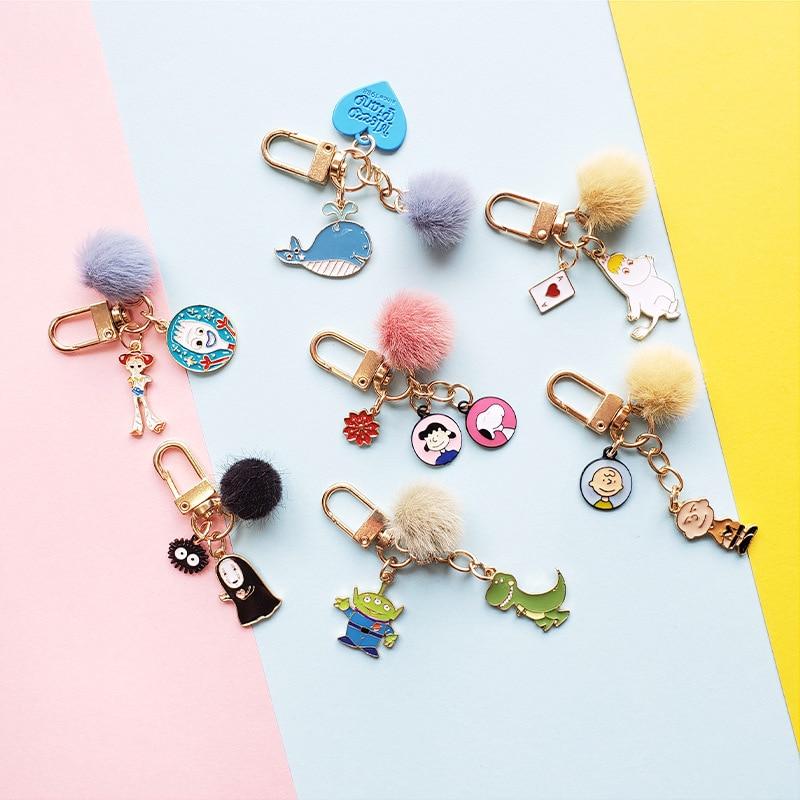 New Rabbit Toy Story Lucky Cat Keychain Keyring For Women Girl Jewelry Animal Avatar Alloy Key Chain Ring Bag Car Key Holder