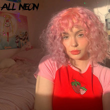 ALLNeon-Top corto con bordado de fresa para chica, camisetas rojas de retales de manga corta con cuello redondo, camisetas Kawaii de moda de verano