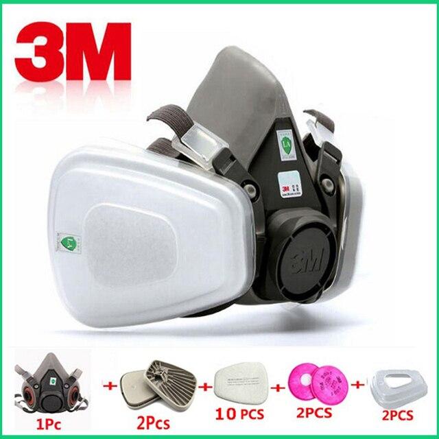 17 في 1 3M 6200 الصناعية نصف قناع رذاذ الطلاء قناع واقي من الغاز الجهاز التنفسي حماية سلامة العمل الغبار واقية قناع جهاز التنفس فلتر