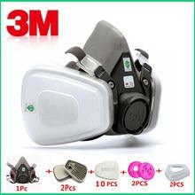 Máscara industrial con respirador antipolvo 3M 6200 con filtro, mascarilla de gas 17 en 1 con sistema de respiración a prueba de polvo, máxima seguridad y protección al pintar y contra gases y espray
